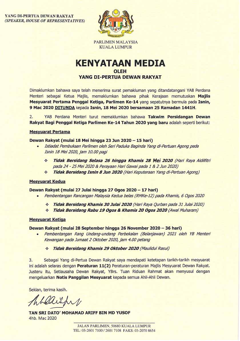 Dewan Rakyat Sitting is on May 18